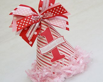 NEW Red and Pink Candy Stripe Party Hat - Valentines, Candyland, Candy shop birthday party