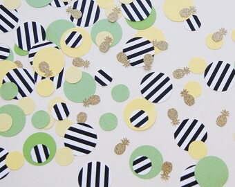 Gold Pineapple Confetti Mix - gold glitter, Lime Green, Yellow, Black Stripes