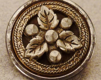 VICTORIAN BUTTON STEEL and Brass Three Leaves  design 5/8 in