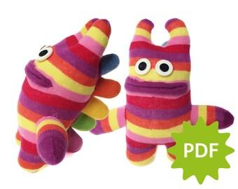 Make you own Spiky Sock Monster, PDF instructions