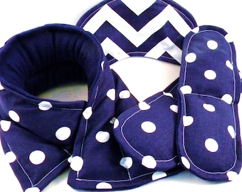Pampering Gift Set, Microwave Heating Pad Cold Pack, Heat Pad Cold Packs, Relaxation Spa, Headache Migraine - navy white dots chevron