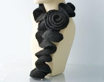 Hand Knit  Scarf , Black Ruffled Scarf  with Rose Flower Scarf Pin,  Ruffle Scarf,  All Season Scarf, Flower Scarf