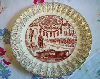 SALE! Vintage Oklahoma Souvenir State Plate Gold Filigree