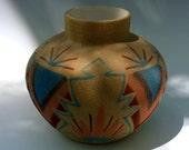 Signed Vintage Navajo Sand Painted Vessel, Sunwest Indian Art, Ltd.