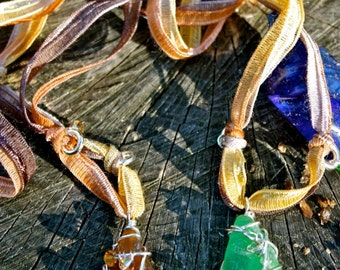 Sea Glass Ribbon Necklaces