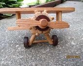 Airplane Large Wooden Handmade toys   Red  Oak and  Walnut  hand finished with all natural Beeswax