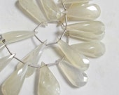 Glimmering Elongated Pearl Chalcedony Briolette Beads  27mmTo 36mm