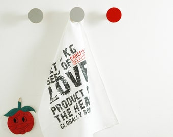 Love typography message tea towel