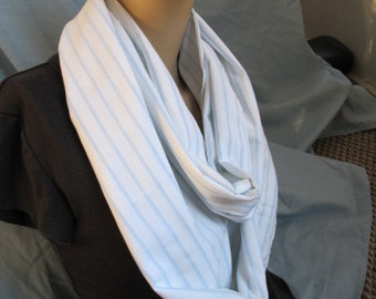 SALE - Light White and Blue Stripe Cowl/Circle Scarf/Infinity Scarf (4446)