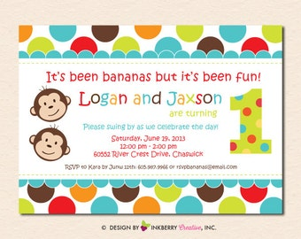 Twin Monkey Boys - First Birthday Party Invitation (Digital File - Printed Cards Also Available)