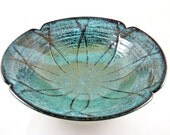 Handmade pottery serving bowl, poppy flower design, teal blue pottery- Wedding Gift - IN STOCK SB029A