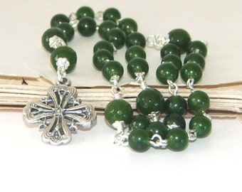 Greenstone Christian Rosary (Nephrite Jade) - Anglican Prayer Beads