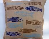 sale - cushion cover, little fish, linocut, home interior, cushion cover, beach house, text, light blue, beige, dark blue, navy blue, fish