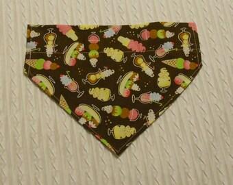 SALE Dog Collar Bandana with Ice Cream Novelties Size Large Ready to Ship
