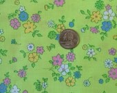 Vintage 1960s Retro Mod Floral Cotton Fabric Multi Colored Flowers on Green 4 + yards