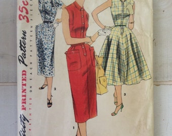 1950s vintage dress pattern--Simplicity 1199--size 16---rockabilly and swing dress