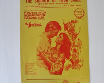 60s vintage sheet music /The Shadow of Your Smile--Love theme from The Sandpiper---Elizabeth Taylor, Richard Burton--Piano sheet music / art