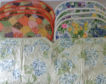 Instant collection of 3 sets vintage placemats--vintage tableware, vintage kitchen, 1970s vintage home