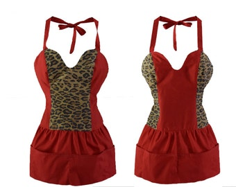 Red and Leopard print sexy Reversible diva hostess Apron upcycled fabric