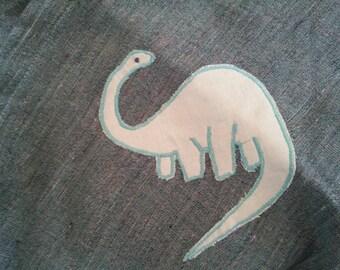 DINO MITE Gradipo Pret à Porter mod Savana in lino grezzo smeraldo + applicazione  dinosauro - pouch sling fascia tubolare portabebe