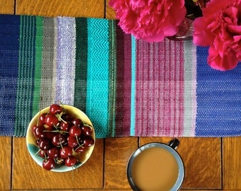 Custom Handwoven Table Runner | Woven Tablescape Fashion | Striped Table Runner | Hand Loomed Home Decor | Heirloom Woven Interior Design