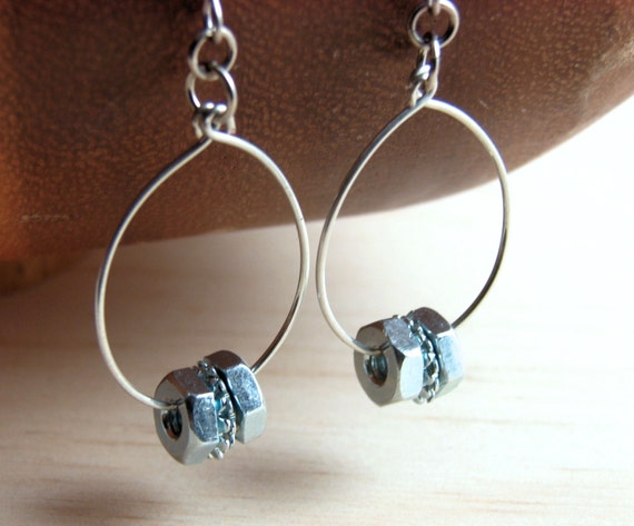 Hoop Earring Dangles Steampunk Wire Wrapped Hardware Jewelry
