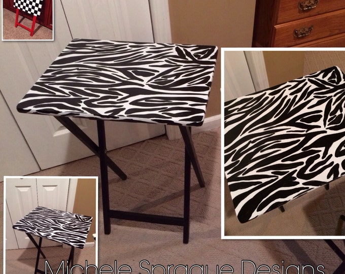 Whimsical Painted Furniture, painted tray table 11 Zebra Painted table // zebra painted furniture