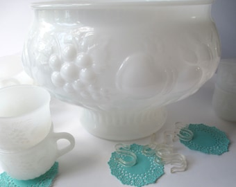 Beautiful Vintage Jeannette Milk Glass Fruit Design Punch Bowl Set and Ten Punch Cups