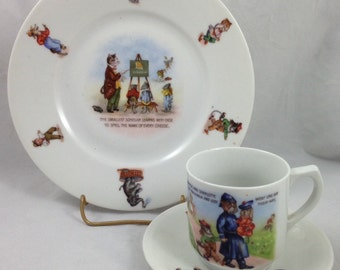 Vintage Set of Children's Dishes, Cup Saucer and Plate with Images of Animals in Human Form as Children