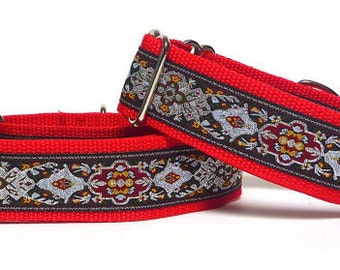 "1.5"" Red martingale dog collar RENAISSANCE RED, medieval dog collar, greyhound or sighthound collar, adjustable training collar"
