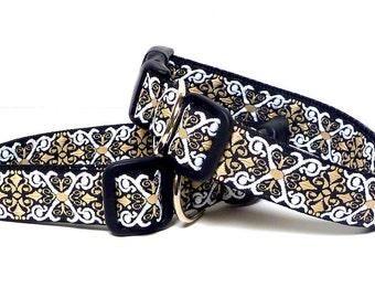 Black dog collar, tag collar, buckle collar, dog collar, SIR LANCELOT, Camelot, black and tan collar, medieval collar, renaissance collar