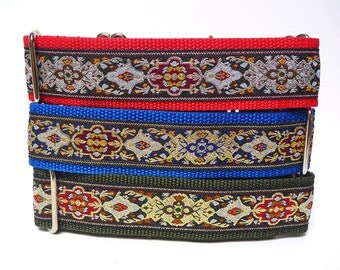 Martingale collar, dog collar, RENAISSANCE collar, safety collar, greyhound martingale, sighthound collar, medieval collar, metallic collar