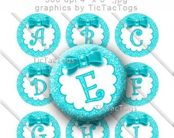 Aqua Glitter Bottle Cap Images Bow Bling 1 Inch Circle A-Z 4x6 Alphabet Alpha - Instant Download - BC494