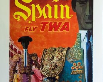 rare vintage David Klein TWA Poster Spain 1960