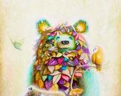 Pop Surrealism - Bear Art Print - Psychedelic -  Prints - Hummingbirds - Owls - Foxes - Bears - Woodland - Surrealism -