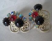 Red Black Blue Aurora Earrings Clip Rhinestone Gold Filigree Vintage