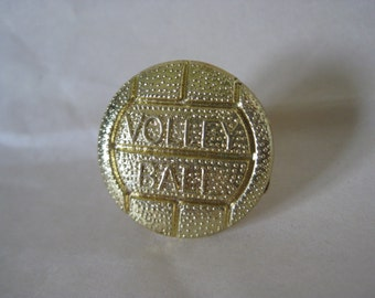 Volley Ball Brooch Gold Vintage Pin