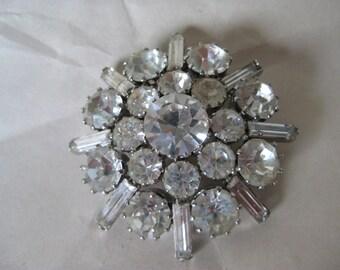 Flower Clear Brooch Rhinestone Silver Vintage Pin