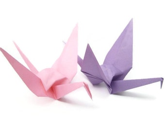 Pink Origami Cranes - Set of Five