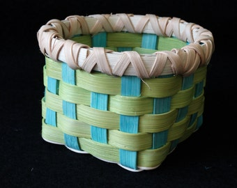 Hand Woven Basket in Chartreuse and Turquoise.  Small storage Basket. Storage basket. Custom made Baskets.  Handmade Baskets in fun colors!
