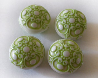 Ornate Lime Green etched coin acrylic beads - 6pcs