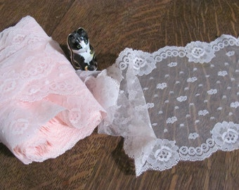Wow...Lowered Price...2 Yards Soft Pink  6.5 Wide Scalloped Lace, Trim