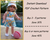 PDF crochet pattern 19 - play romper, sun hat, shoes and beach ball - outfit fits American Girl or other 18 inch doll