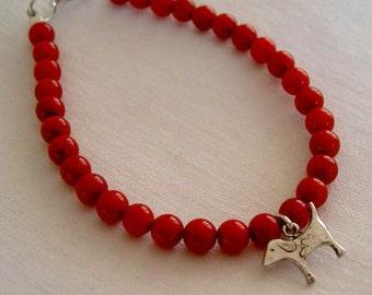 Pulsera perrito mini con coral/ Little dog bracelet with coral