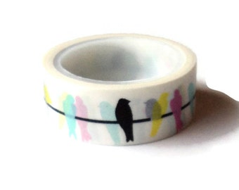 Washi Tape, White Multi Perched Birds, Love My Tapes Brand, 15mm x 5m (16 ft.)