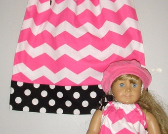 pillowcase dress  matching  American Girl Doll  2t, 3t, 4t, 5t,6,7,8,10,12