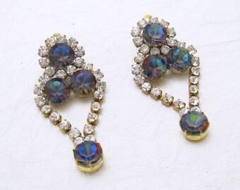 Vintage Long Rhinestone Earrings Watermelon Stone Czech Jewelry E5666
