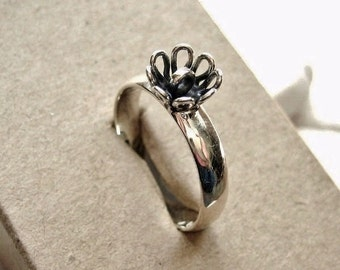 Sterling Silver Ring Base Blank with Loop Flower - Size 8