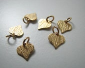 6 pcs 14K Gold Filled Small Heart Charm Pendants, Flat and Textured Dainty Charms