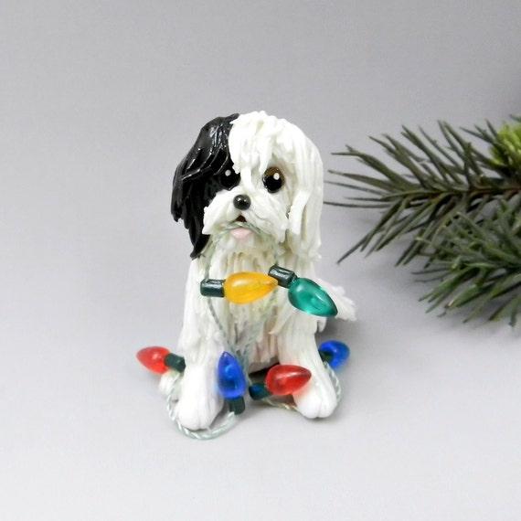 Tibetan Terrier Christmas Ornament Figurine Lights Porcelain